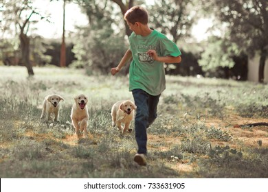Retriever pup Lovely scene handsome teen boy enjoying summer time vacation with best friend dog ivory white labrador puppy.Happy airily careless childhood life in world of dreams.