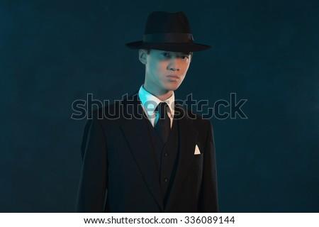 retro 1940 asian gangster fashion man stock photo edit now