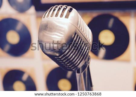 Retro 1950 S Recording Studio Microphone Stock Photo (Edit