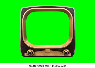 Retro 1950s television with chroma green background and screen.