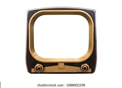 Retro 1950s television isolated on white with cut out screen.