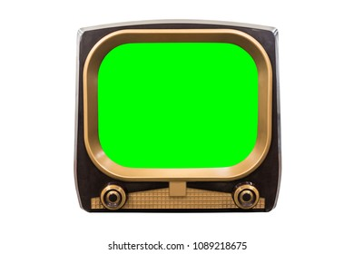 Retro 1950s television isolated on white with chroma green screen.