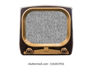 Retro 1950s television isolated on white with static screen.