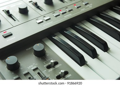 Retro 1980's analogue synthesizer