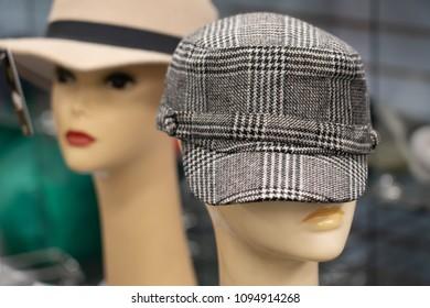 retro 70s hats on manequins