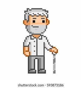 Retro 8 bit pixel art elderly man on white background.