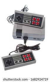 Retro 8bit gaming console with two joysticks isolated on white
