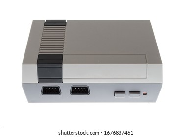Retro 8bit no brand gaming console isolated on white