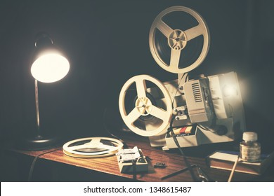 retro 8mm movie projector on the table