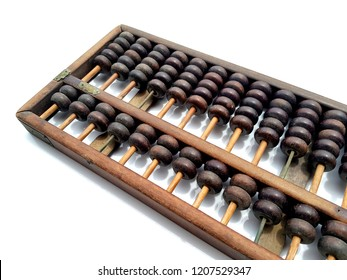 Retro abacus for calculating in the past most used in China lay down on white background
