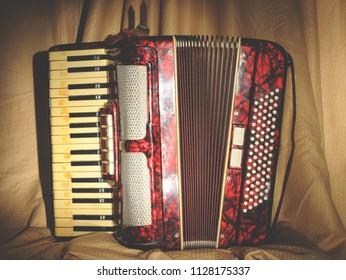 Retro accordion in the dark