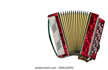 Retro accordion isolated on white background. Copy space