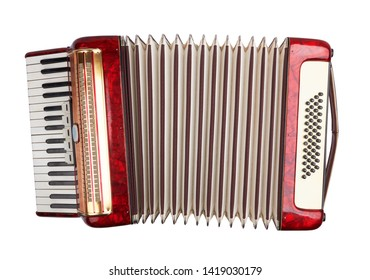 Retro accordion isolated on white background