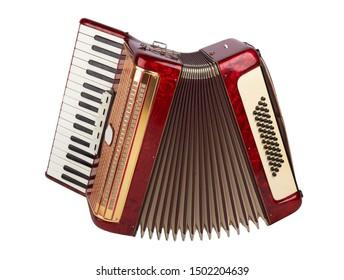 Retro-Akkordeon einzeln auf weißem Hintergrund