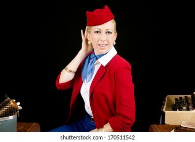 Retro Airline Stewardess or Attendant Primping at her Vanity.