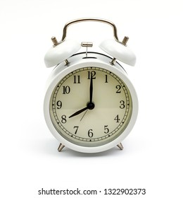 Retro alarm clock antique white, isolated