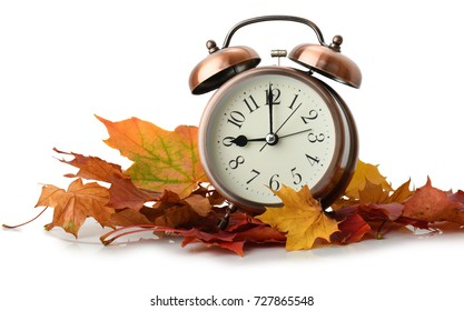 retro alarm clock in autumn leaves isolated on white background