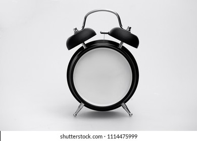 Retro Alarm Clock with Blank Face and bells isolated on a white background