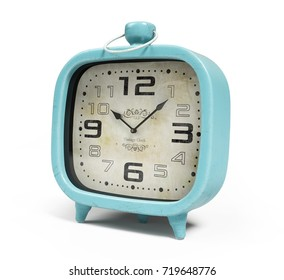 Retro alarm clock isolated on white background 3D rendering