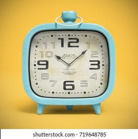 Retro alarm clock isolated on yellow background 3D rendering