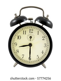 Retro alarm clock showing 8 hours and 30 minutes isolated over white