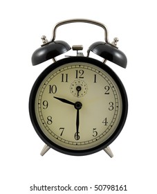 Retro alarm clock showing 9 hours and 30 minutes isolated over white