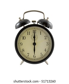 Retro alarm clock showing six hours, isolated over white