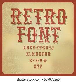 Retro alphabet. Vintage letters on aged paper texture.  raster illustration