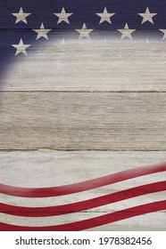 Retro American patriotic background with grunge USA flag stars on weathered wood with copy space for your patriotic message