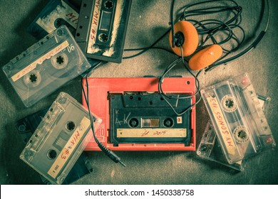 Retro audio cassette with headphones