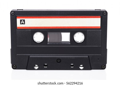 Retro audio cassette isolated on white background