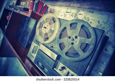 the Retro audio tape recorder player, vintage effect