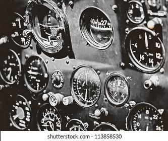 Retro aviation, aircraft instruments, cockpit detail