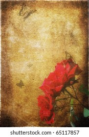 Retro background, butterfly and red roses, vintage composition