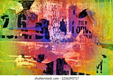 retro background colorful torn papers, destroyed text meaning nothing
