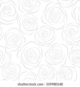 Retro background with gray roses silhouette on a white background. Shabby chic illustration. Roses seamless pattern.