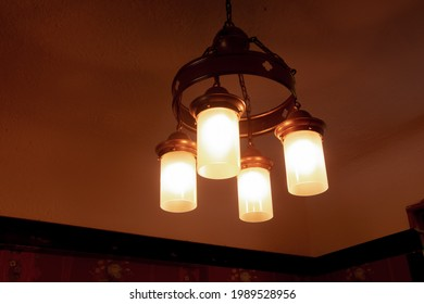 Retro barn ceiling lamp lights with white shades in Toronto, Canada