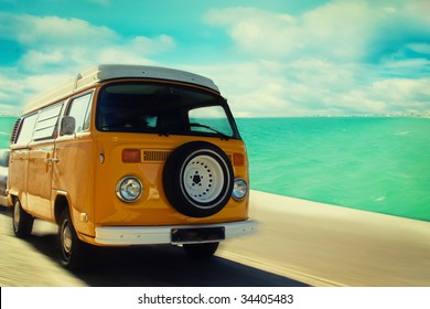 Retro beach van