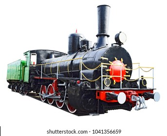 Retro beautiful  forties locomotive on the white background .1910s.