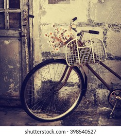retro bicycle and brick wall, vintage bike. Retro stylish cycling in town, old retro bike,ecological transportation concept