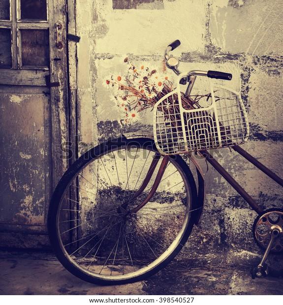 Retro Bicycle Brick Wall Vintage Bike Stock Photo (Edit Now) 398540527