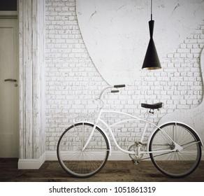Retro bicycle in industrial interior - 3 d render