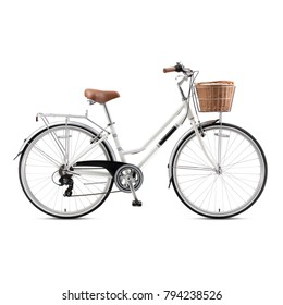 Retro Bicycle Isolated on White Background. Vintage Bicycle.  White Beach Cruiser Bicycle. Lightweight Classic Ladies Bike with a Wicker Basket. White Multi-Speed Traveler Bike