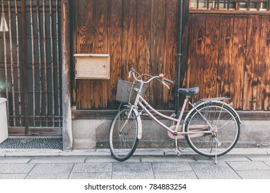retro bike parking in Japan vintage color tone