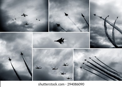 Retro black and white collage of aircraft shows