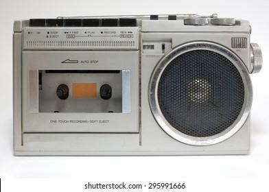 Retro blaster cassette tape recorder isolated on white background