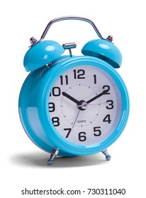 Retro Blue Alarm Clock Isolated on a White Background.