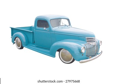 retro blue green pickup with moon hubcaps
