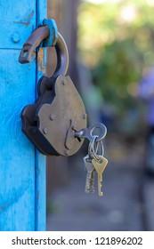 retro blue lock on the door