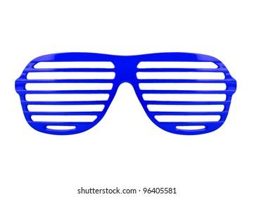 Retro blue shades sunglasses isolated on white background